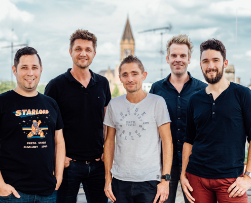group image of the original Frontastic founders team Toby, Henning, Manuel, Thomas, Kore