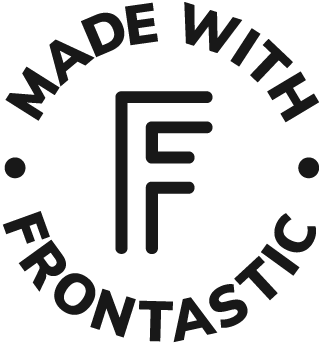 "black logo saying ""Made with Frontastic"""