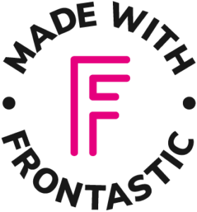 """black and pink logo saying """"Made with Frontastic"""""""