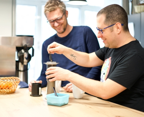 Frontastic Team brewing coffee