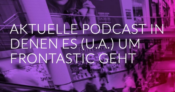 """banner with heading """"current podcasts about Frontastic"""""""
