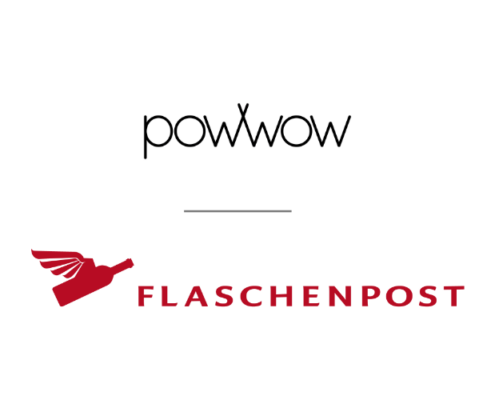 logos powwow and Flaschenpost.ch combined