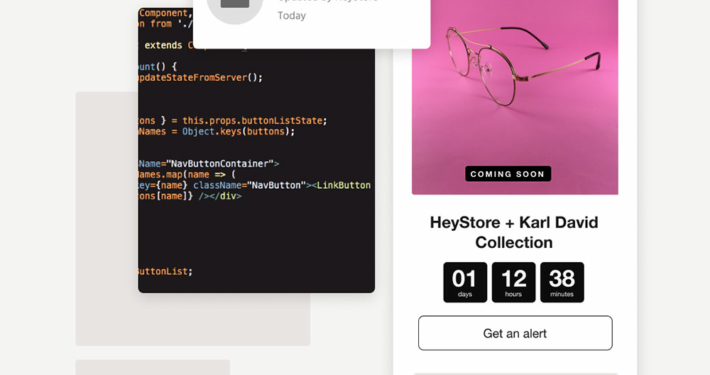 "collection of visuals showing code snippets of the ""Countdown Tastic"" and how it'll look on a storefront oage"